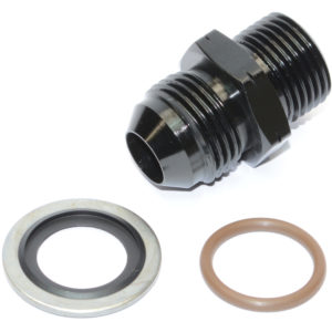 Adaptor, AN-8 Male to M18 x 1.5mm, Including Stainless Dowty Washer and Viton O Ring, Black 15815 (1)